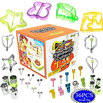 Sandwich Cutters for Kids 36pc Prepare All Meals Fast- Sandwich Crimper Cutter Sealer Set - Vegetable Fruit Cookie Jello Cutters- Food Picks Plus Egg Molds for Eggs and Pancakes Fun To Use