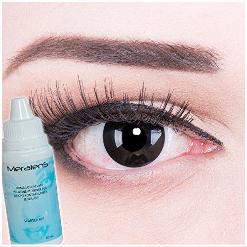 Meralens A0207 Black Out Kontaktlinsen mit Behälter und 60ml Pflegemittel ohne Stärke, 1er Pack (1 x 2 Stück)