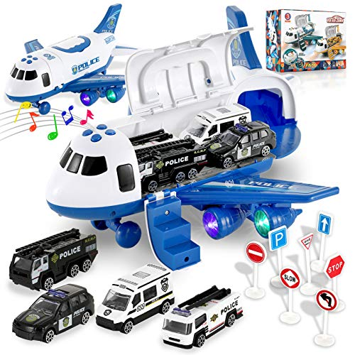 ZaxiDeel Airplane Car Toys Set, Transport Cargo Airplane Toy with LED Light & Sound, 4 Vehicle Police Car and 7 Road Signs Set for Kids Age 3 for Toddlers Boys Child