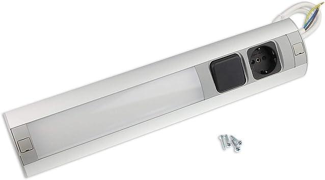 Muebles - Caja de enchufe con interruptor y luz para cocina y oficina - caja de enchufe angular de aluminio de alta calidad ideal para la encimera, | 1x a prueba de