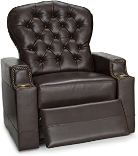 Seatcraft Imperial Leather Home Theater Seating Power Recliner with Tufted Backrest, Nailhead Accent Arms, USB Charging and Cup Holders, Brown