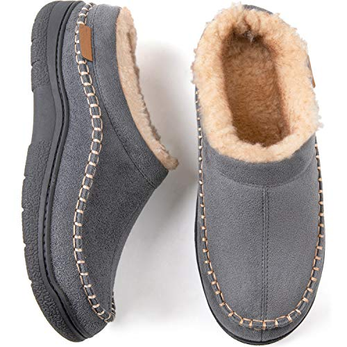 Zigzagger Men's Microsuede Moccasin Slippers Indoor Outdoor Fuzzy Fluffy House Slippers,Grey,7-8 D(M) US