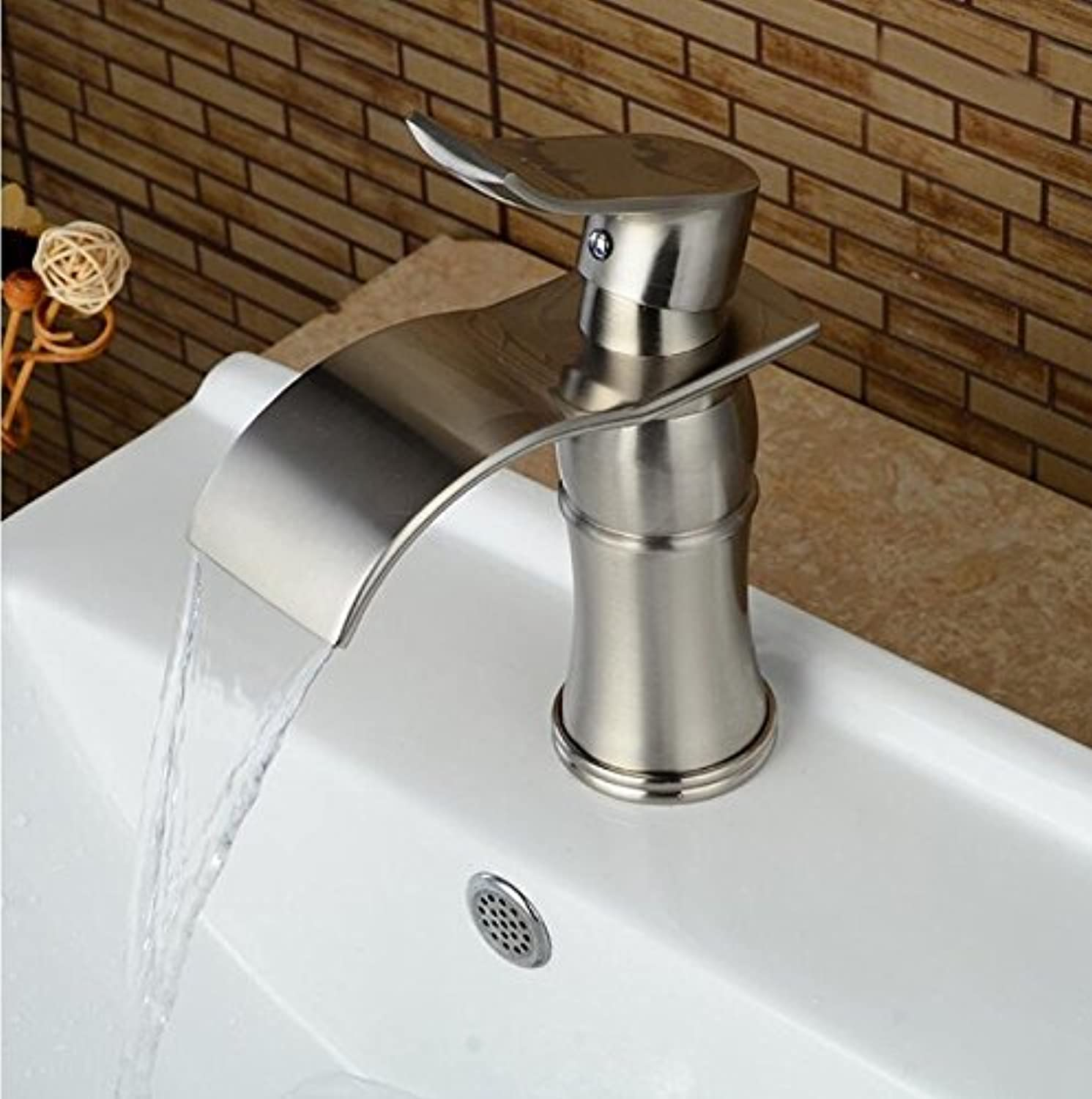 Makej Spout Bathroom Faucet Single Handle Hole Vanity Sink Mixer Tap Deck Mounted Brushed Nickel