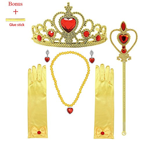 MISS FANTASY Princess Dress up Accessories for Belle Cosplay Queen Jewelry Set Good for Halloween Party Girls Birthday Party Pack Include Tiara Wand Gloves Necklace Earrings
