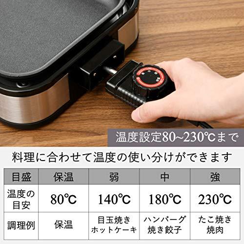 [山善] 着脱式ホットプレート(たこ焼きプレート&平面プレート付) YHA-W100(S) [メーカー保証1年]