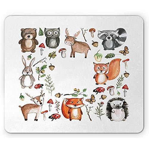 Cartoon-Mausunterlage, Eulen-Ren-Bier-Igel-Marienkäfer-Kaninchen-Schmetterlings-Walnuss scherzt Kinderzimmer-Thema Mousepad