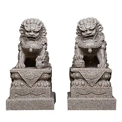 Grandes Leones de Beijing Par Fu Foo Perros Estatuas (un par), Piedra de Arena de Piedra Feng Shui Chino Decoración Accesorios de Prosperidad Estatuilla, Escultura de jardín de hogar y Oficina