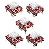 A4988 Stepstick Motor De Pasos Del Controlador De Módulo Stepstick Compatible Con Disipador De Calor Para Impresora 3d Controller Rampas 1.4 (5pcs / Set) -red