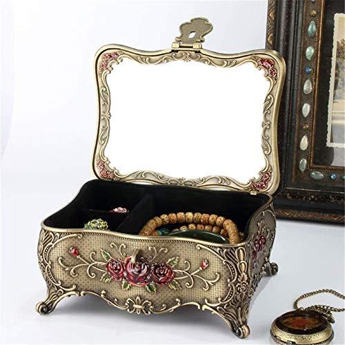 GIAOYAO Jewellery Box Organiser European Retro Diamond-studded Butterfly Jewelry Box With Lock Mirror Jewelry Storage Box for Girls Ladies Women (Color : Blue, Size : 17X13.5X8.8CM)