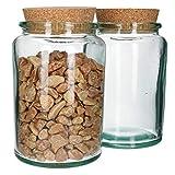 MamboCat 2tlg. Vorratsglas mit Kork-Deckel | aus Recycling-Glas | H 18 cm, D 11,5 cm |...
