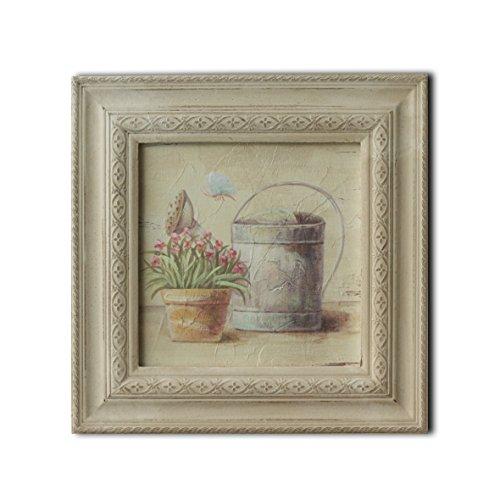 CVHOMEDECO. Cuadro en relieve con imagen de bonsái pintada a mano sobre marco de madera, pintura al óleo para decoración de pared, 33.5 x 33.5 cm