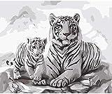 ZAWAGU DIY Pintura Digital Madre e Hijo Tigre niños Adultos Pintura Digital Set decoración RegalosMarco