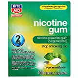 Rite Aid Nicotine Gum, Cool Mint Flavor, 2 mg - 100 Count | Quit Smoking Aid | Nicotine Replacement Gum
