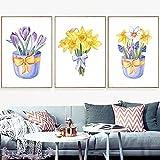 Rumlly Acuarela Amarillo Azul púrpura Flor Cesta Lienzo Pintura Carteles nórdicos e Impresiones Cuadro de Arte de Pared habitación decoración del hogar 60x90cmx3 sin Marco