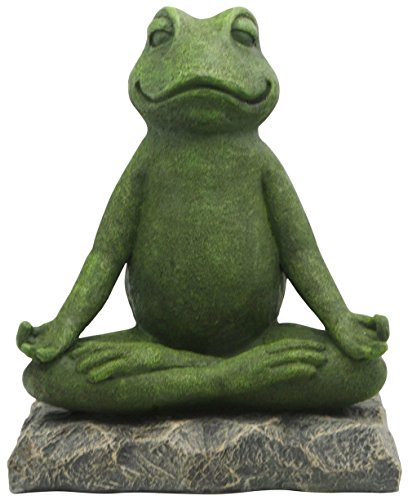 Buddha Groove Meditating Garden Yoga Frog Statue in Artistic Textured Finish | Made of Cast Stone | for Indoor & Outdoor Use | Sturdy Construction, Measures 11 Inches Tall