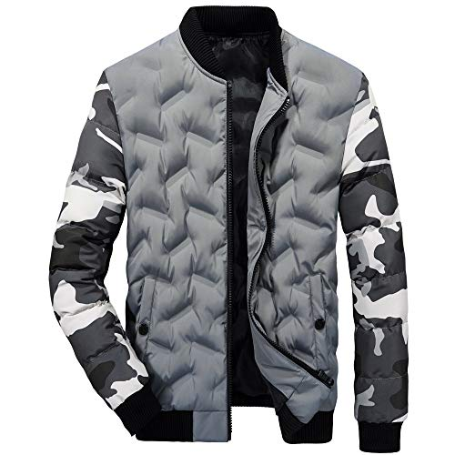LoveLeiter Men's Autumn Winter Warm Camouflage Pocket Packwork Zipper Thermal Top Coat langärmelige Camouflage-Jacke mit Samtjacke für Herren Windjacke Freizeitjacke Sport Parka Outdoor(Grau,XL)