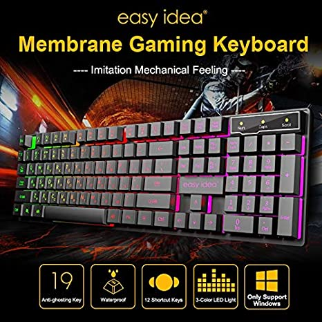 HUOGUOYIN Gaming Keyboard Gaming Keyboard Wired Imitation Mechanical Keyboards Backlit USB 104 Keycaps Computer Game Ergonomic Russian Keyboards Keyboard Color : English Version