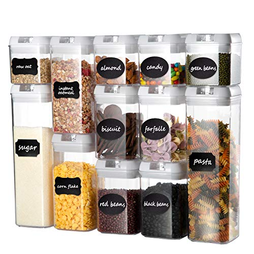 Airtight Food Storage Containers Set, Faite's 12 Pieces BPA Free Kitchen Storage Container with Easy Lock Lids,Plastic Sorage Bins with Durable Lids Ideal for Cereal, Flour & Sugar