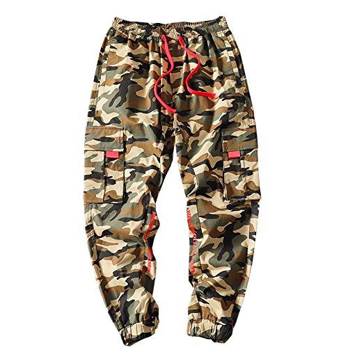 haochenli188 Pantalones con Cintas para Hombre, Ropa De Calle, Pantalones Cargo, Pantalones De CháNdal De Hip Hop, Monos, Pantalones Holgados con Bolsillos, Camuflaje XXXL