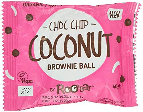 RooBar Bolita Brownie, Pepitas Choco Y Coco Ecológica - Vegetariano, Vegano, Paleo - 40 G