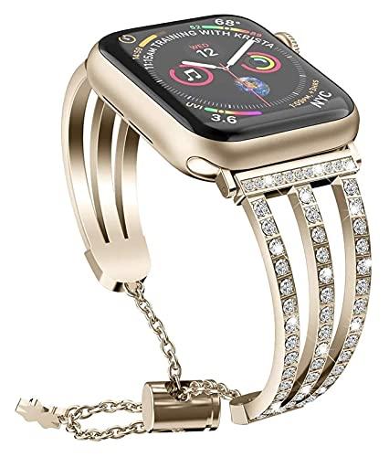 Bandas de metal compatibles con Apple Watch 38mm 40mm 42mm 44mm correa de acero inoxidable de acero inoxidable de reemplazo banda deporte suave transpirable para iWatch Series 6 / SE / 5/4/3/2/1 para
