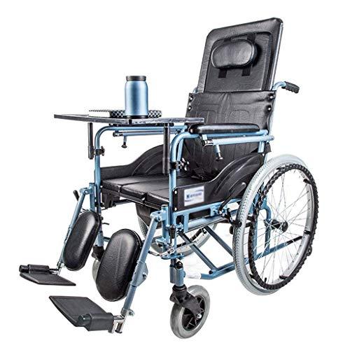 CANDYANA inklapbare rolstoelen met eigen aandrijving, aluminiumlegering, frame, semi recumis design, mobielheidsapparaat met eettafel en potje, blauw