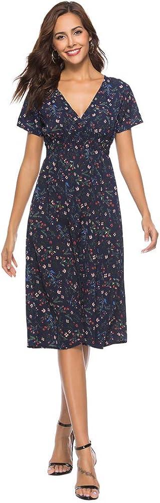 Feminine Chiffon Vintage Floral V Neck Summer Casual Flared Dress for Women