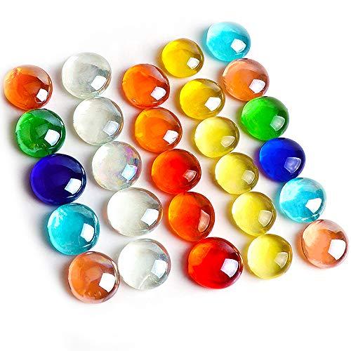 TsunNee 230 PCS granulados de guijarros de cristal decorativos de 1 kg, cuentas de piedra multicolor,azulejos de mosaico, piedras de bricolaje para el hogar, jardín, boda, acuario conmemorativo