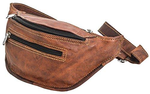 Gusti Gürteltasche Bauchtasche Hüfttasche Festivaltasche Vintage Braun Leder