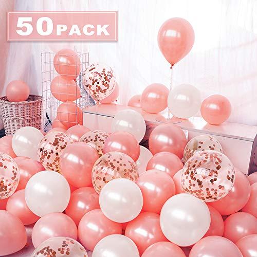 Nasharia 50 Stück Luftballons Rose Gold, 12 Zoll Ballons Rosegold Konfetti Luftballons Helium Ballons für Hochzeit Valentinstag Mädchen Kinder Geburtstag Party Deko