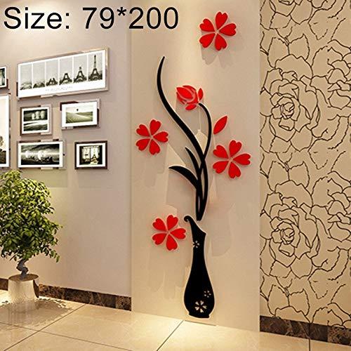 TONGZHENGTAI stijlvolle elegante muursticker muurdecoratie creatieve vaas 3D acryl stereo muursticker TV achtergrond muur kast meubel, grootte: 79 * 200cm