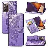 Shell mobile Custodia per portafoglio per Samsung Galaxy Note 20 Ultra, Bumper Antifurto Flip Portafoglio Portafoglio Cassa del telefono / cinturino da polso / Floral Floral Butterfly Case portafoglio