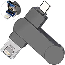 128gb Memory Stick for iPhone, OUYUI USB Flash Drive External Storage Photo Backup Stick Compatible with PC/iPhone/iPad/Mac/and Android Devices(Type-C)-Grey