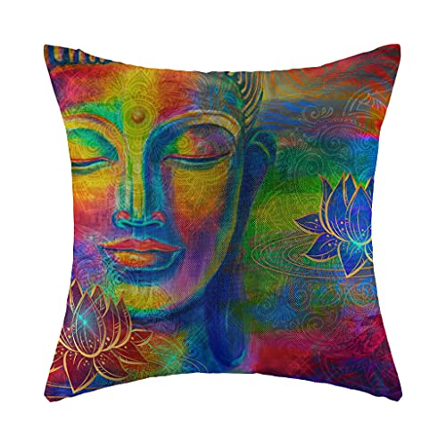 Throw Pillow Covers Head Lord Buddha with Lotus Linen Decorative Cover Cases for Couch Invisible Zipper Thickened Square Cushion for Home Decoration 18 X 18 Inch