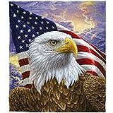 Super Soft Plush Fleece Throw Blanket (Independence Eagle)