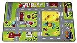 HuggyPlay alfombra de juego para niños, alfombra infantil, diseño ciudad, 90 x 150 cm