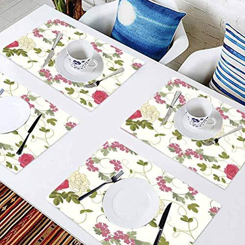 L'sWOW Set de table rectangulaire lavable Roses sur fond blanc, tables, fêtes et autres occasions spéciales, lot de 4