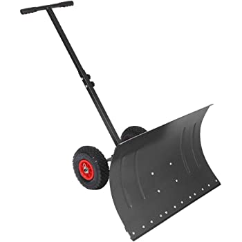 TUFFIOM Wheeled Snow Shovel Pusher,Metal Rolling Removal Tool with Multi-Angle Heavy Duty Large Blade Plow & Height Adjustable Handle for Doorway Driveway or Pavement Clearing