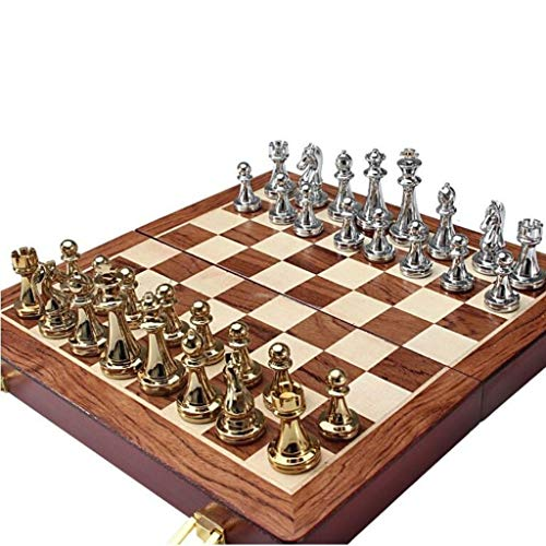 Bzsm Tablero de ajedrez Plegable de Madera Maciza de Metal Brillante Oro y de Plata de ajedrez Ajedrez Profesional Entretenimiento Juego de Mesa