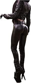 LY-VV Womens Faux Leather Leggings Plus Size Girls High Waisted Sexy Patchwork Skinny Pants