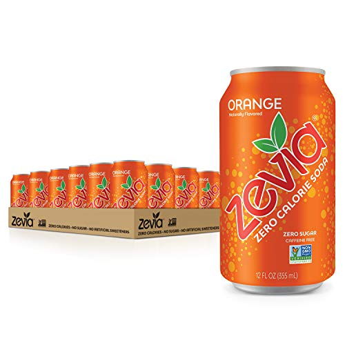 Zevia Zero Calorie Soda, Orange, 12 Ounce Cans (Pack of 24)