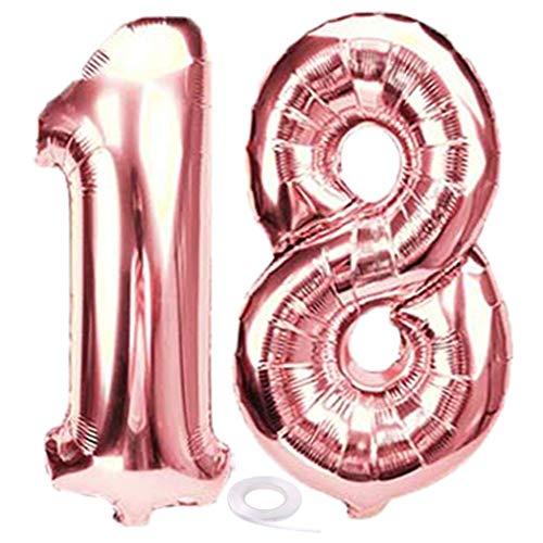 SNOWZAN Luftballon 18. Geburtstag Deko Rosegold Mädchen Zahl 18 Riesen Folienballon Helium Nummer 18 Luftballon Große Zahlen 18 Jahre XXL 18. Happy Birthday 32 Zoll Riese Zahl 18Geburtstag für Party
