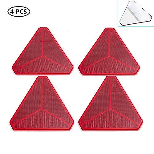 TAEUTO 4 x Catadioptrico Triángulo Adhesivo Rojo, Catadioptrico Triángulo...