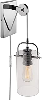 Globe Electric 65946 Nordhaven 1-Light Plug-In or Hardwire Wall Sconce, Chrome Finish, Pulley Accent