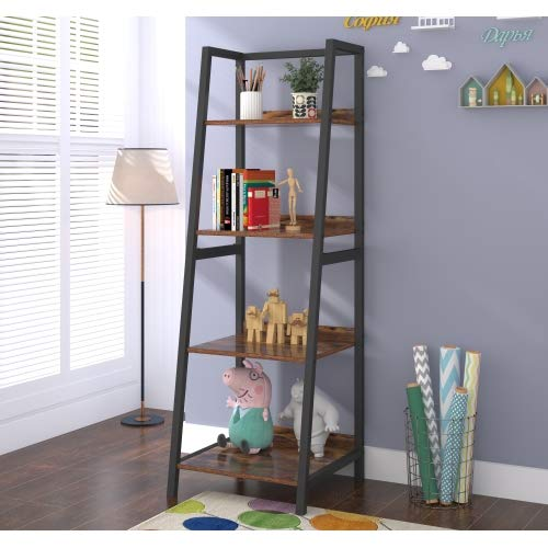 Teraves 5-Tier Bookshelf Wood Bookcase with Metal Frame Book Shelf Organizer Storage Display Shelves Russtic Wood and Metal Shelving Unit (Boak)