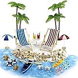 MOPOIN 24 unidades de decoración de playa con diseño de micro paisaje, minisillas de playa, decoración para niños, regalo de cumpleaños, DIY, jardín, casa de muñecas