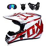 Adult Motocross Helmet MX Off Road Helmet Scooter ATV Helmet D.O.T Certified Multicolor with Goggles Gloves andMask,White,L