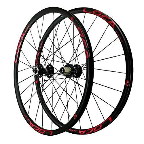 ZNND 26/27,5 Pulgadas Rueda para Bicicletas,24 Hoyos Aleación Aluminio Base Torre de 6 Garras Rueda de Liberación Rápida Rueda de Freno Disco (Color : Red, Size : 27.5in)