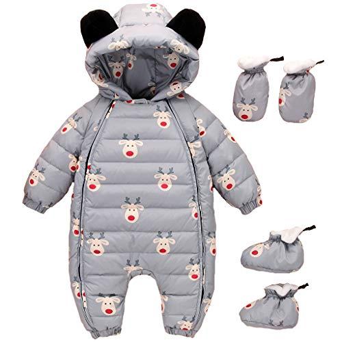 Baby Winter Overall Mit Kapuze Weihnachten Daunen Schneeanzüge mit Handschuhen und Füßlinge Kleidungsset Grau 9-12 Monate