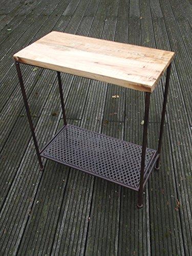Deko-Impression Eisentisch, Beistelltisch, Ablagetisch, Holzplatte,massiv, 60 x 30 cm